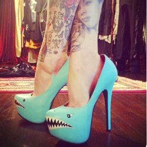 Mint Blue Shark Stiletto Pinup Heels